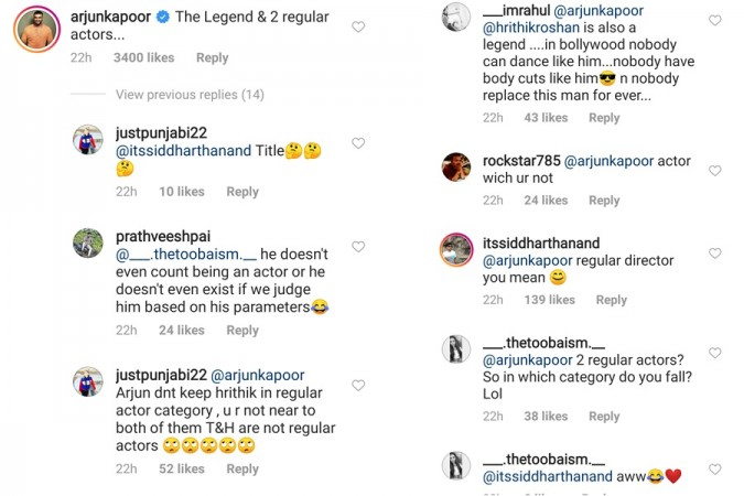 Arjun Kapoor trolled for calling Hrithik Roshan and Tiger Shroff regular actors