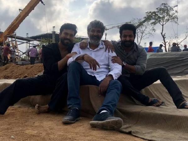 Jr NTR, SS Rajamouli and Ram Charan on RRR movie set