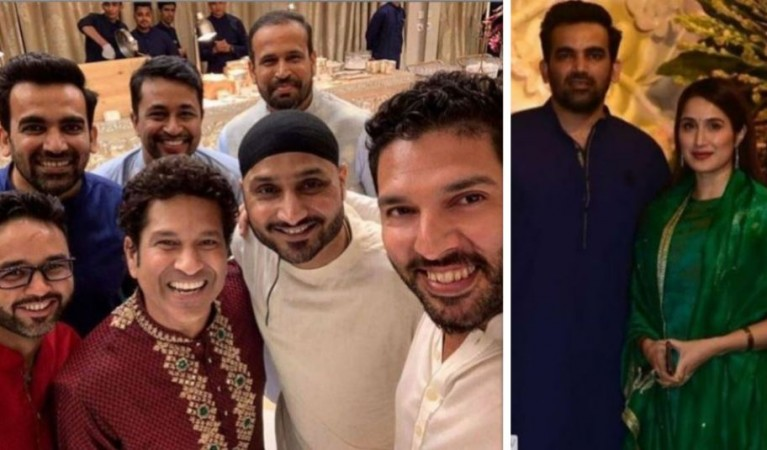 Image result for cricketers ganesh chaturthi attended in ambani home