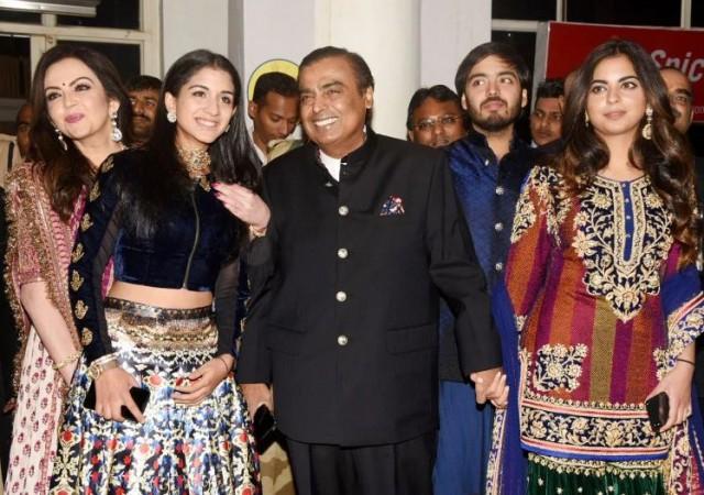 Nita Ambani with Radhika Merchant, Mukesh Ambani, Isha Ambani