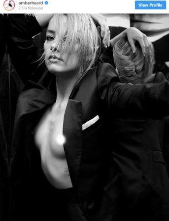 Amber Heard topless Instagram