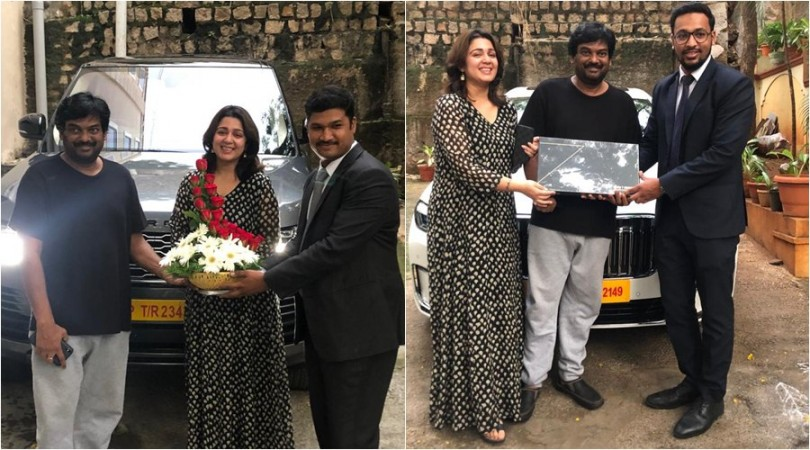 Puri Jagannadh and Charmy Kaur pose with their Range Rover Vogue and BMW 7 Series car