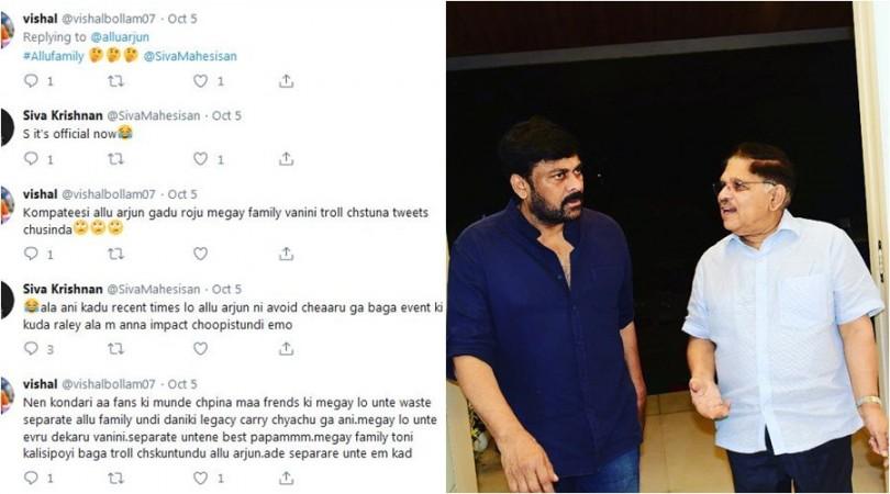 Reply to Allu Arjun's tweet; Chiranjeevi with Allu Aravind