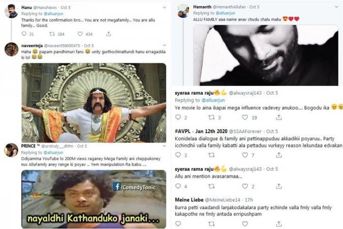 Replies to Allu Arjun's tweet