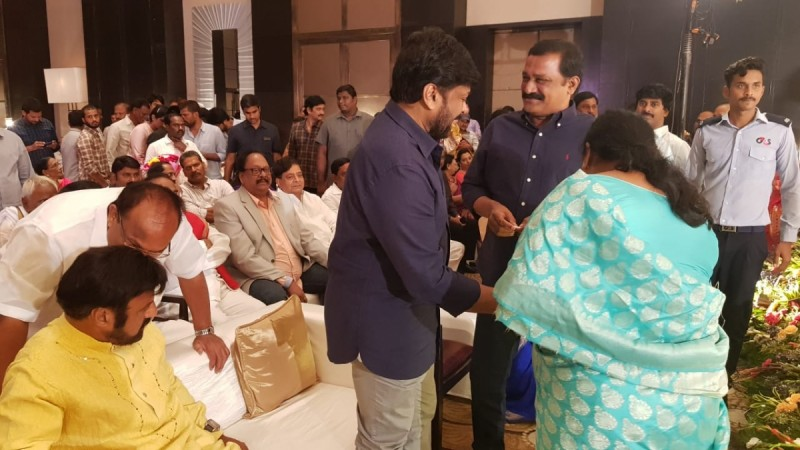 Nandamuri Balakrishna and Chiranjeevi at Sye Raa Narasimha Reddy success party