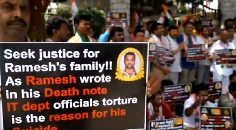 Protest in Bengaluru Over Dr G Parameshwara's PA, Ramesh's death