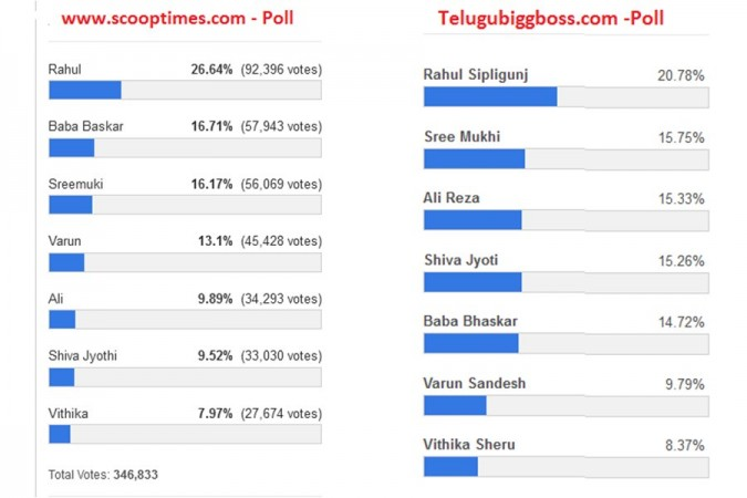 Bigg Boss Telugu 3 - Online voting results