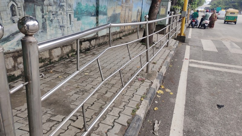 Disfigured steel railings in Bengaluru