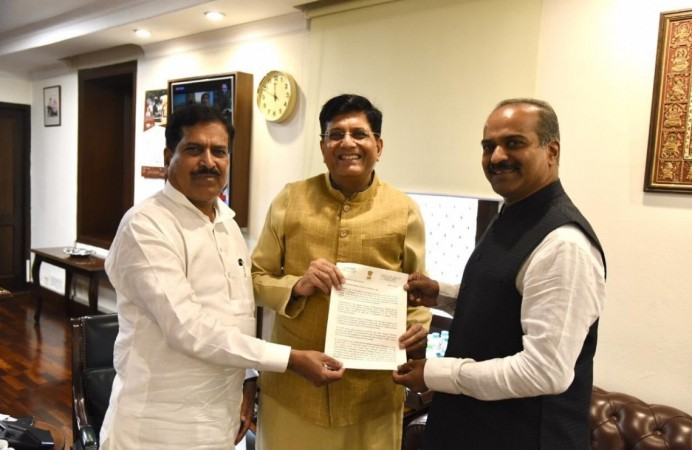 Railway Minister Piyush Goyal and Minister of State for Railways Suresh Angadi and Bengaluru Central MP PC Mohan
