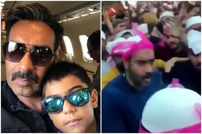 Ajay Devgn and son Yug get mobbed