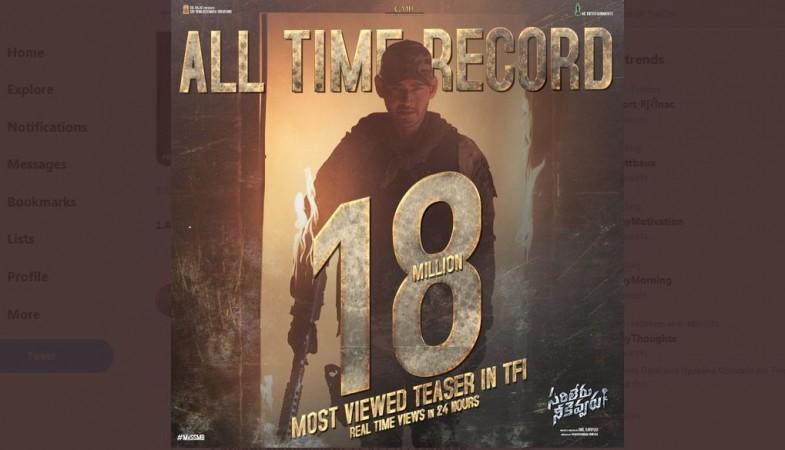 Sarileru Neekevvaru Teaser 18 million views poster