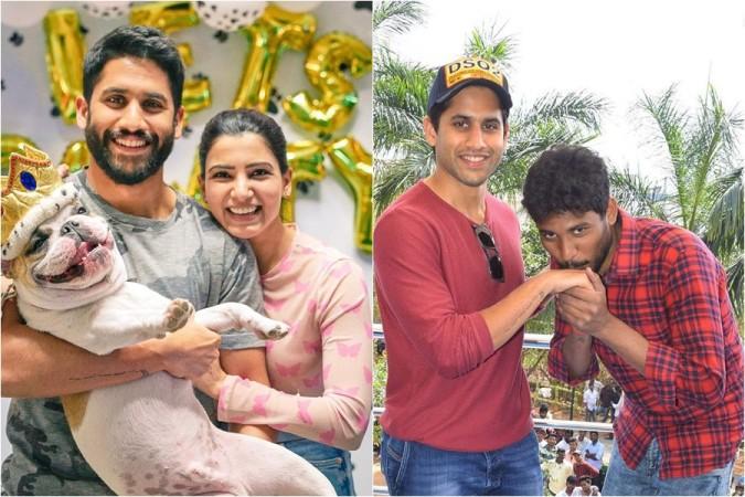 Naga Chaitanya with his wife Samantha Akkineni and fan Sagar