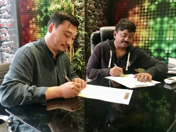 Ram Gopal Varma signing the deal of Enter The Girl Dragon with his Chinese partner