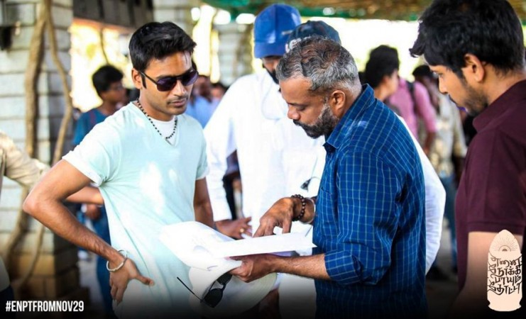 Dhanush with Gautham Menon on Enai Noki Paayum Thota Sets