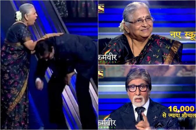 Amitabh Bachchan touches Sudha Murthy's feet on KBC 11