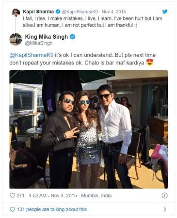 Mika Singh's tweet on Kapil Sharma