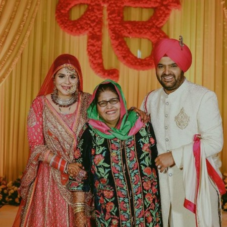 Kapil Sharma with wife Ginni Chatrath and mom