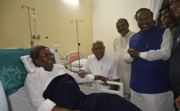Karnataka CM BS Yediyurappa and other BJP leaders visited Congress leader Siddaramaiah who is admitted in a hospital.