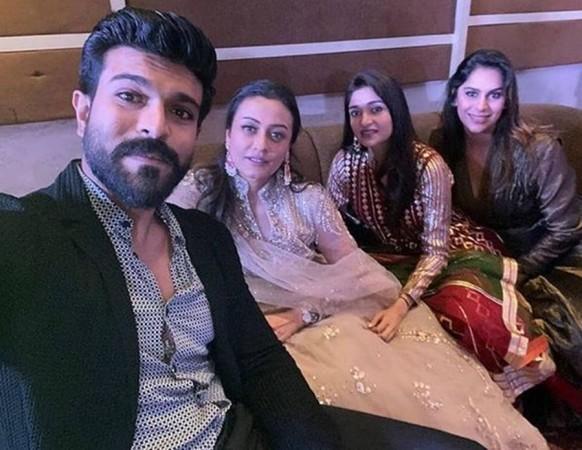 Ram Charan's selfie with his wife Upasana and Namrata Shirodkar at Sania Mirza's sister's wedding