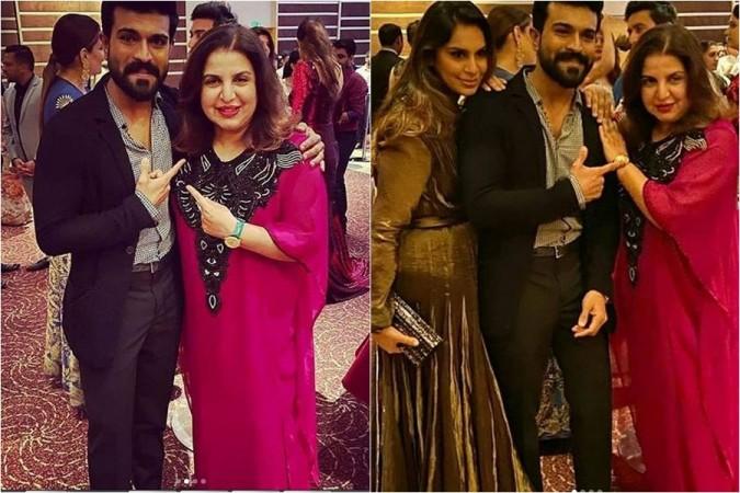 Ram Charan and his wife Upasana with Farah Khan at Sania Mirza's sister's wedding