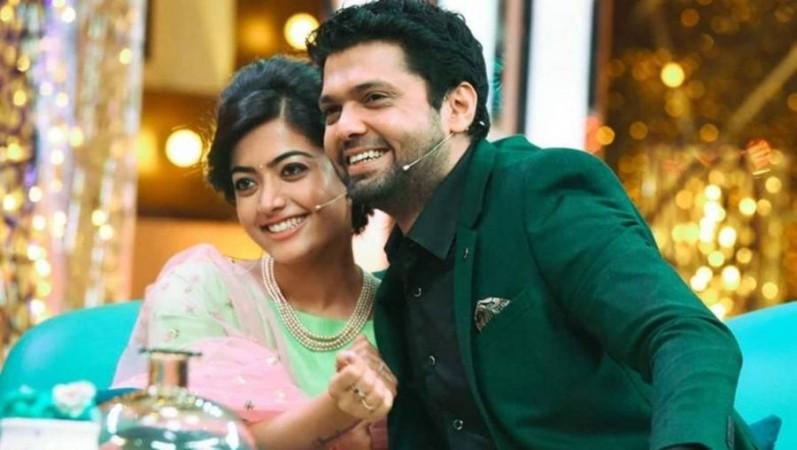 Rakshit Shetty with Rashmika Mandanna