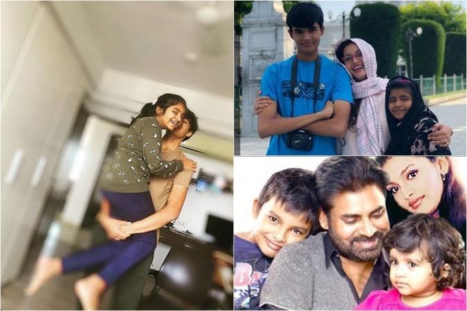 Pawan Kalyan and Renu Desai with their kids