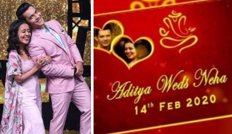 Neha Kakkar - Aditya Narayan wedding card