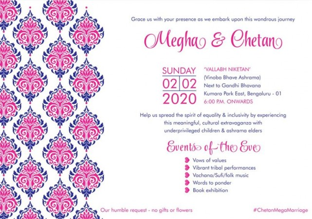 Actor Chetan and Megha's wedding invitation