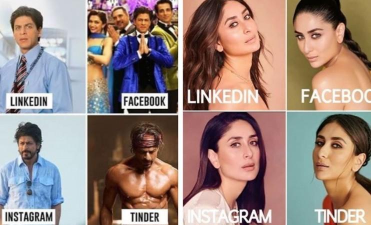 Shah Rukh Khan, Kareena Kapoor Linkedln Facebook Instagram Tinder Meme Challenge