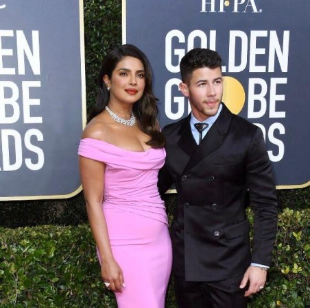 Priyanka Chopra Jonas along with Nick Jonas at the Golden Globe awards night