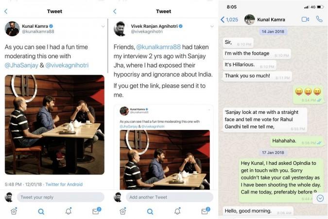 Vivek Agnihotri's WhatsApp chat with Kunal Kamra