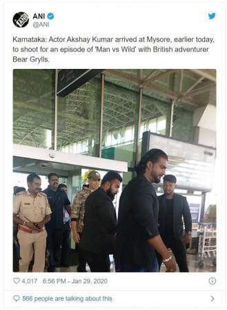 Akshay Kumar arrives at Mysuru for Man Vs Wild shoot