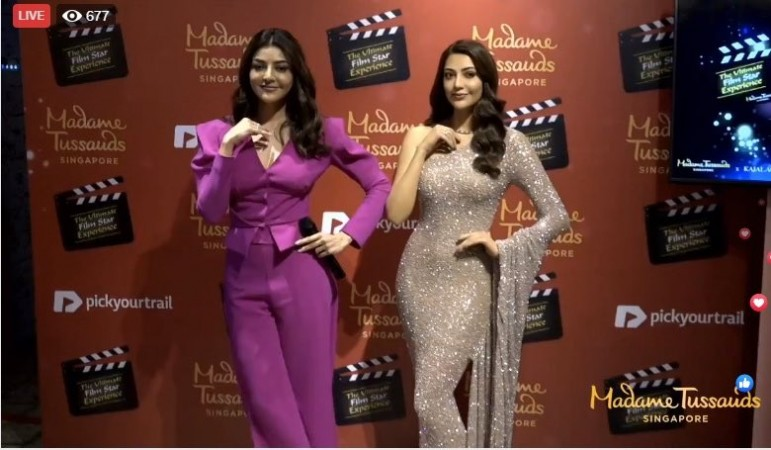 Kajal Aggarwal poses with her wax statue at Madame Tussauds Singapore