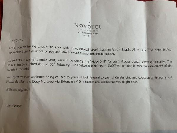Novotel Vizag notice