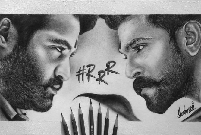 Junior NTR and Ram Charan's fan-made poser of RRR movie