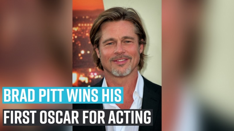 Brad Pitt wins his first oscar for acting
