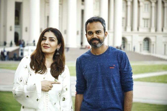 Raveena Tandon and Prashanth Neel on KGF 2 set