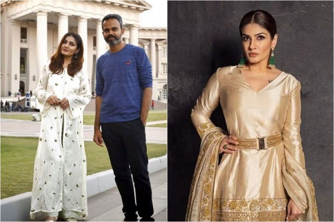 Raveena Tandon and Prashanth Neel on KGF 2 set