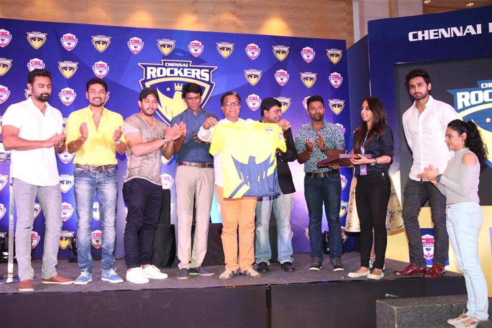 Bharath,Shanthanu,Vaibhav,Chennai Rockers Team,Chennai Rockers,Celebrity Badminton League Season,Celebrity Badminton League,CBL,Nassar,Iniya,Munna,Gayathri,Abhinay Vaddi,Chennai Rockers Team launch