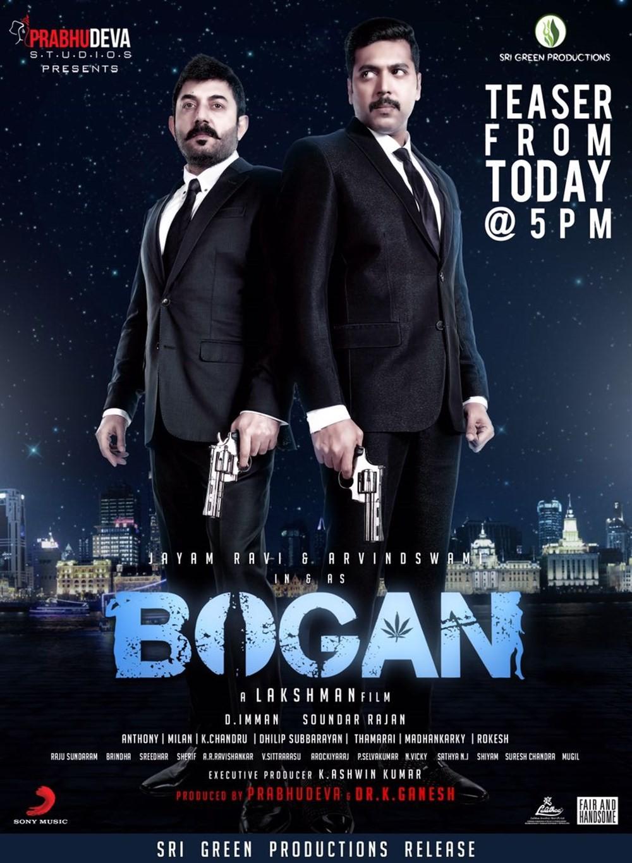 Jayam Ravi,Arvind Swamy,Bogan Teaser,Bogan,Bogan Teaser poster,Tamil movie Bogan,Bogan movie Teaser,Hansika Motwani,Akshara Gowda