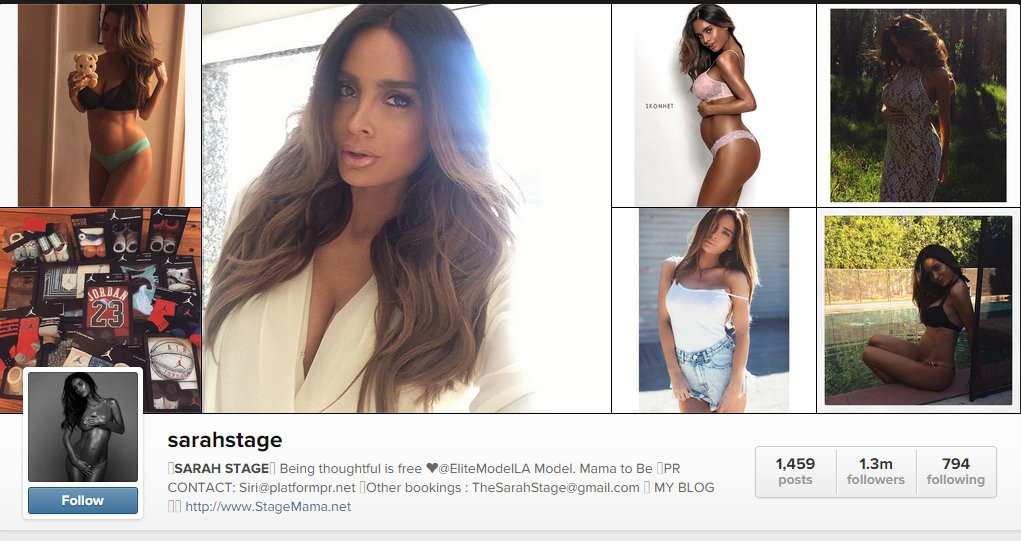 Sarah Stage has over 1.3 million followers on Instagram