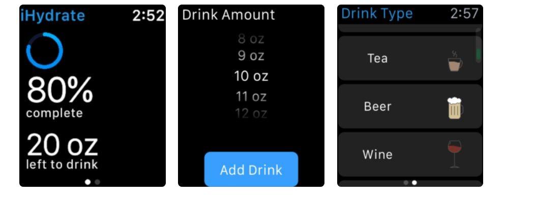 iHydrate, Apple Watch app, fitness app, health app