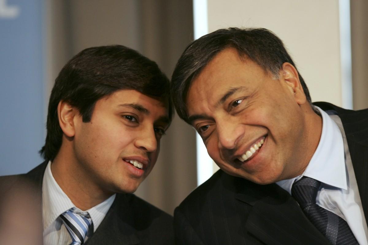 Lakshmi Mittal, head of Mittal Steel, and his son Aditya Mittal, President and CFO.