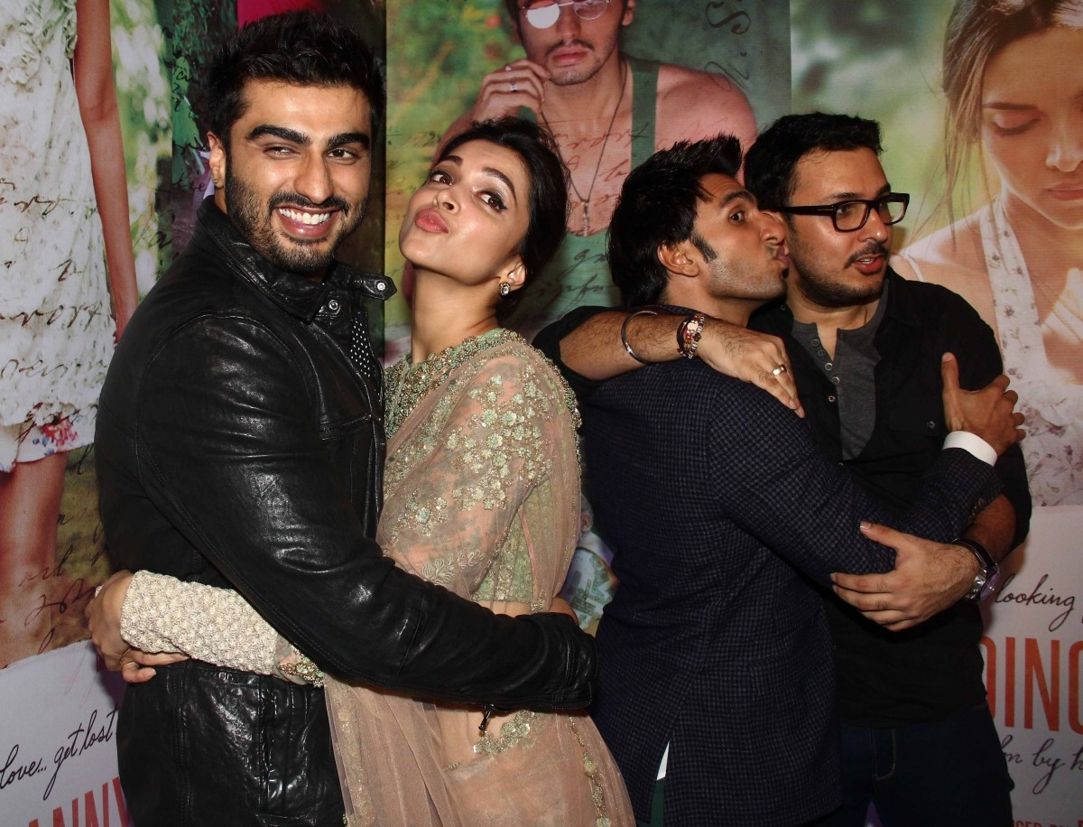 Deepika Padukone, Ranveer Singh, Arjun Kapoor at 'Finding Fanny' success party.