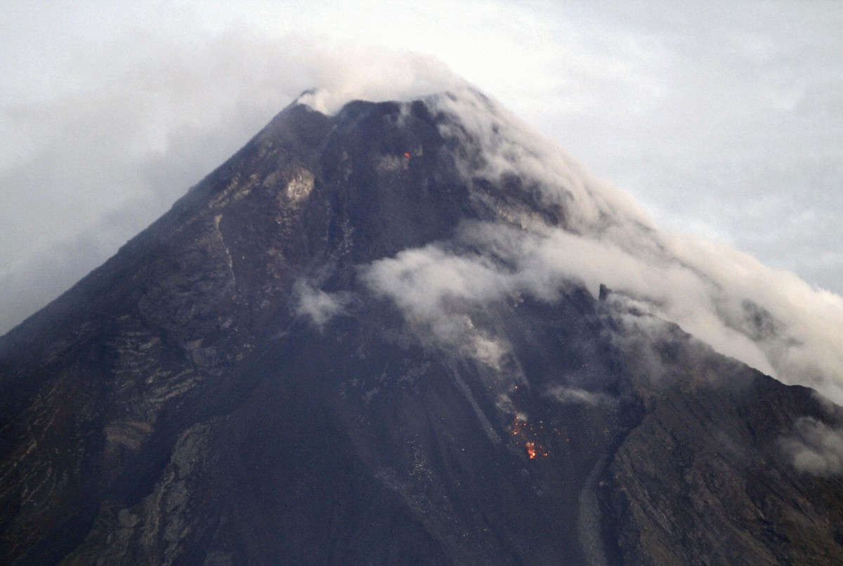 Mayon Volcano is seen emitting smoke