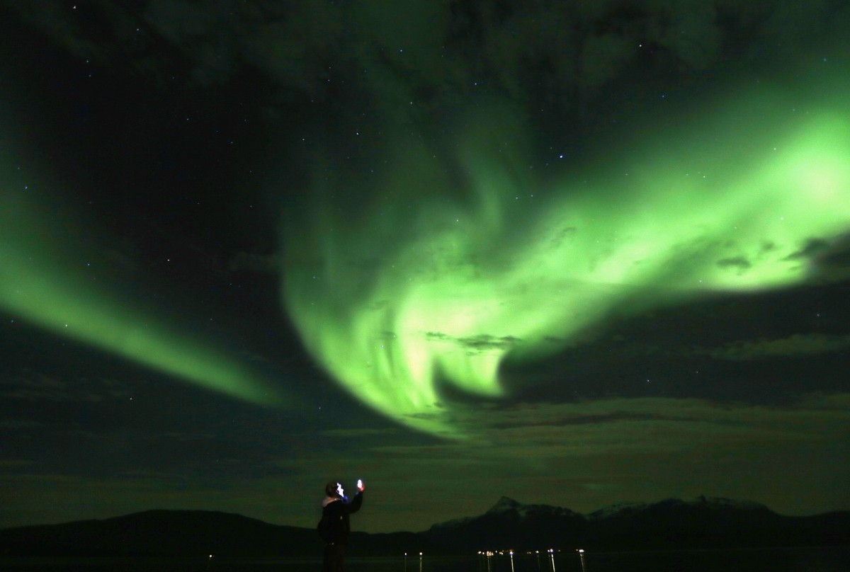 Aurora Borealis (Northern Lights) over the Bals-Fiord north of the Arctic Circle