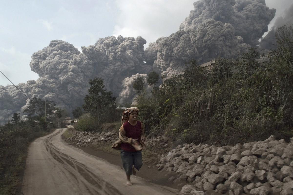 Mount Sinabung volcano erupts