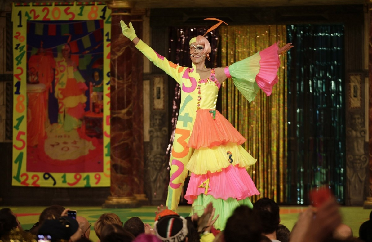 Andrew Logan opens the Alternative Miss World show at Shakespeare's Globe theatre in London on 18 October 2014.
