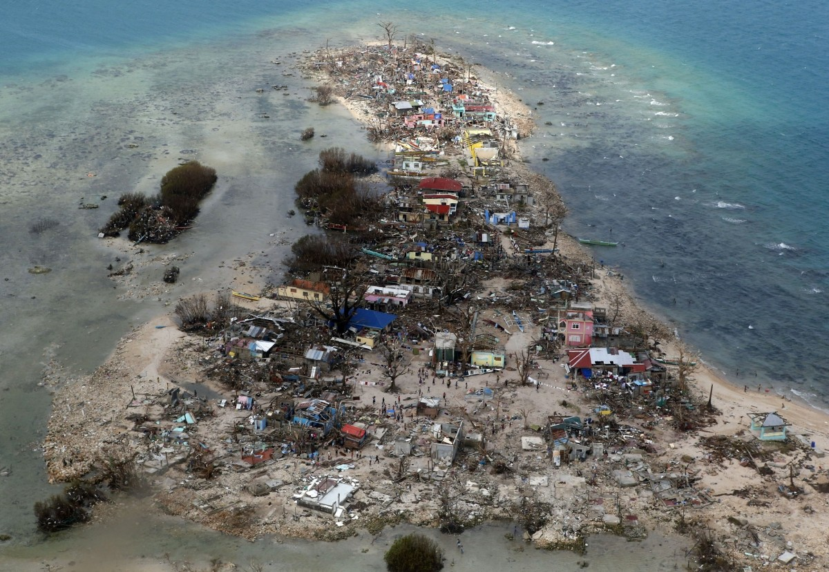 aerial view of a coastal town, devastated by super Typhoon Haiyan