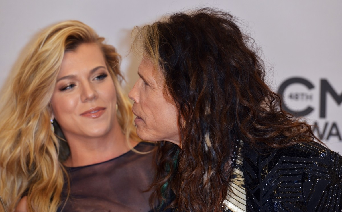 Singer Kimberly Perry and musician Steven Tyler arrive at the 48th Country Music Association Awards